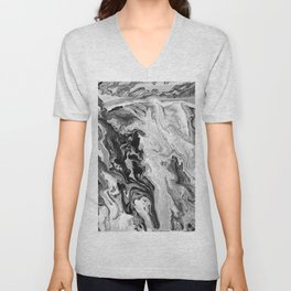 Black and White Marble Unisex V-Neck