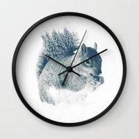 squirrel Wall Clocks featuring squirrel by Peg Essert