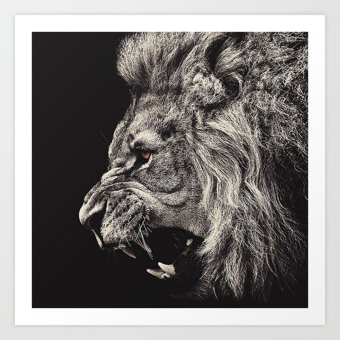 Angry Male Lion Kunstdrucke