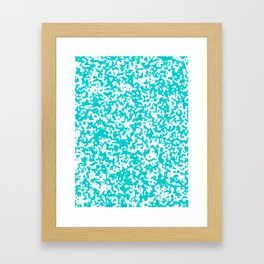Small Spots - White and Cyan Framed Art Print