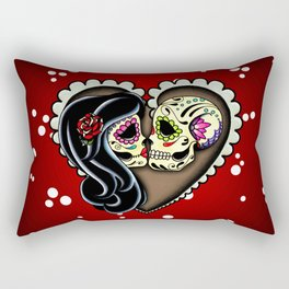 Ashes - Day of the Dead Couple - Kissing Sugar Skull Lovers Rectangular Pillow