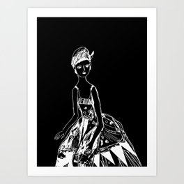 French girl black-white illustration Art Print