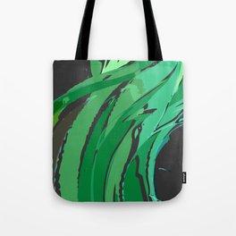 Dark Green Abstract Waves Tote Bag