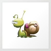 snail Art Prints featuring Snail by ArtPavo