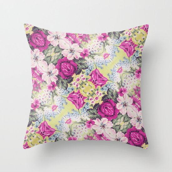 Trendy Vintage Purple Teal Floral Fashion Pattern Throw Pillow