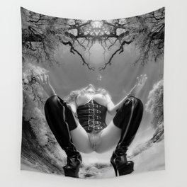 7034-TT Desert Domination BW IR Art Nude In Black Leather Corset Thigh High Boots Wall Tapestry