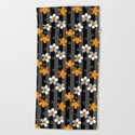 Black and yellow floral pattern on a striped background . by fuzzyfox85