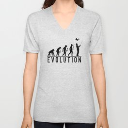 The Evolution Of Man And RC Aircraft Unisex V-Neck