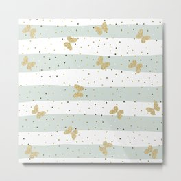 Butterfly Christmas pattern on Pastel Blue and White Stripes Metal Print