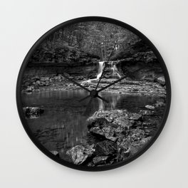 black and white indiana landscape Wall Clock