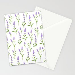 Modern hand painted lilac watercolor lavender floral pattern Stationery Cards