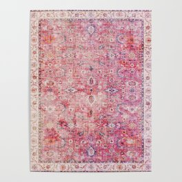 N45 - Pink Vintage Traditional Moroccan Boho & Farmhouse Style Artwork. Poster