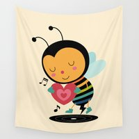 bee Wall Tapestries featuring Bee Yourself by Andy Westface