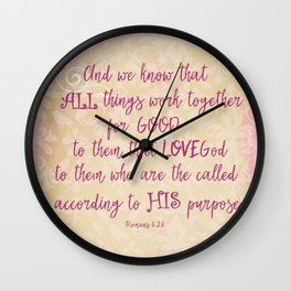 All things work together for Good Bible Verse Typography Wall Clock