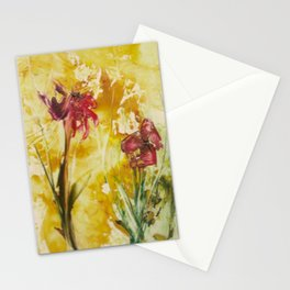 Abstract Red Poppies From Original Encaustic Art Stationery Cards