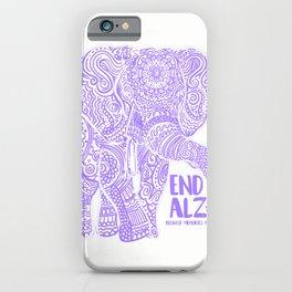 Purple Elephant Alzheimer Awareness Apparel & gifts, END ALZ T-Shirt iPhone Case