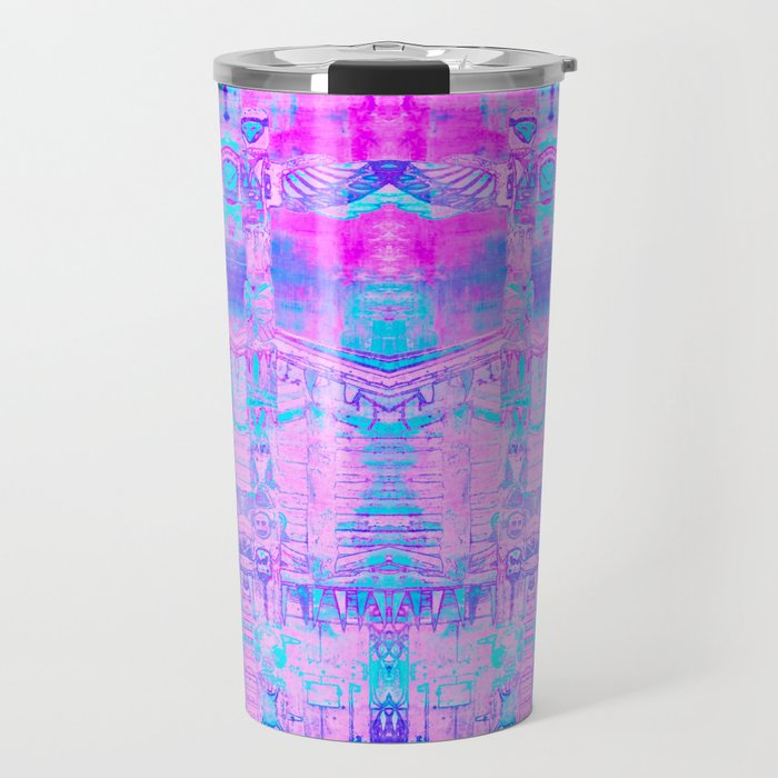 Totem Cabin Abstract - Hot Pink & Turquoise Travel Mug