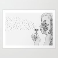 dandelion Art Prints featuring 'Dandelion' by Alex G Griffiths