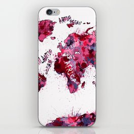 world map color splatter red iPhone Skin