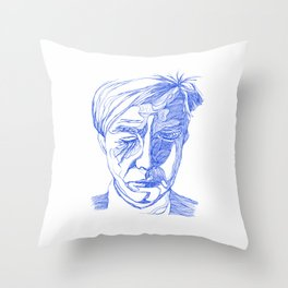 Andy portrait (Blue) Throw Pillow