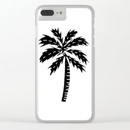 Palm Tree linocut minimal tropical black and white statement piece Clear iPhone Case
