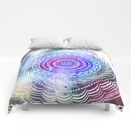 Modern Mandala Spiral Galaxy Space Textured Multi Colored / Purple Pink Orange Gray Black Comforters