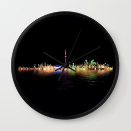 Toronto Skyline At Night From Centre Island Reflection Wall Clock