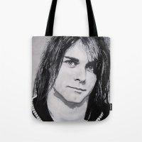 kurt cobain Tote Bags featuring Cobain Kurt Portrait. by Dioptri Art