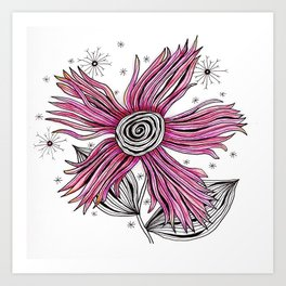 My Funky Valenting - Zentangle Pink Flower Art Print