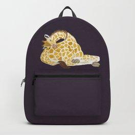Giraffe sleeping on its own bottom Backpack