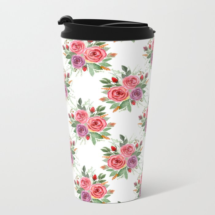Watercolor . A bouquet of roses. 2 Metal Travel Mug