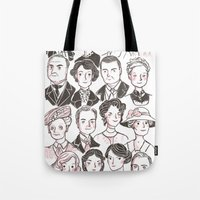 downton abbey Tote Bags featuring Downton Abbey by giovanamedeiros