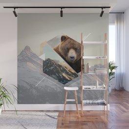 Geometria Espelhada Urso Wall Mural