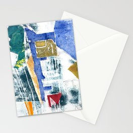 Abstract Building Blue Stationery Cards