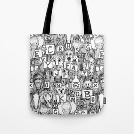 animal ABC black white Tote Bag