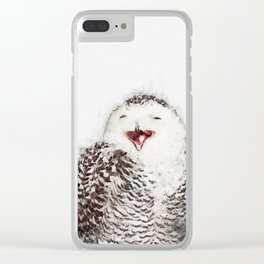 Happy Owl Watercolor Clear iPhone Case