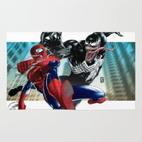 venom Area & Throw Rugs featuring Spider-Man vs Venom by Peejay Catacutan
