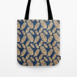 Modern navy blue faux gold glitter tropical floral Tote Bag