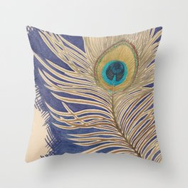 ink peacock feather Throw Pillow