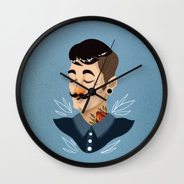 Love Mustache Wall Clock