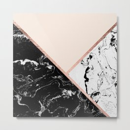 Modern black white marble rose gold color block stripes blush pink Metal Print