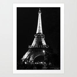 Paris Eiffel tower at night Art Print