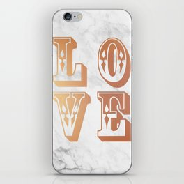 Rose Gold Marble Love Circus Typography Print iPhone Skin