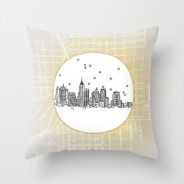 Atlanta, Georgia City Skyline Illustration Drawing Throw Pillow