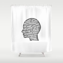 Positive words in my head Shower Curtain
