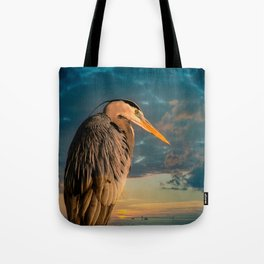 Great Blue Heron and Blue Sunset Tote Bag