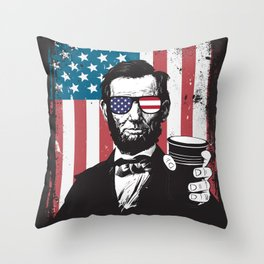 4th of July Abraham Lincoln Beer Red Solo Cup Independence Day American Patriotic Design Throw Pillow