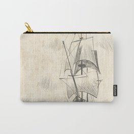 Vintage hand drawn galleon background Carry-All Pouch