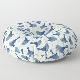 Swimming Blue Whales Floor Pillow