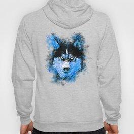 husky dog face splatter watercolor blue Hoody